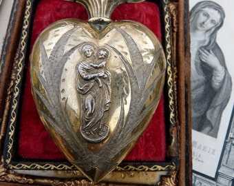 1800s Antique French Flaming Heart Reliquary, Ex Voto for the Passionate, The Marian Mysterium, offered by RusticGypsyCreations
