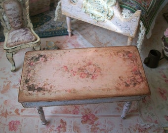 Miniature Table Shabby Chic French Market Style Floral Pattern 1:12 Dollhouse Scale, 2 sizes, Wood Handmade in USA