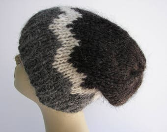 ICELANDIC WOOL Chunky HAND Knit Beanie Ski Hat in Gray White / Lopi yarn Knit Slouch hat