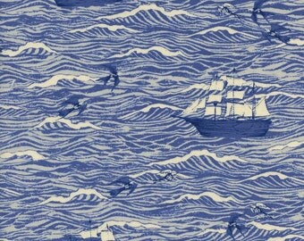 Out to sea in blue from the S.S. Bluebird 2016 / 2017 fabric collection by Cotton and Steel  - 5094-01