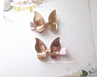 Set of Two Pink Gold Butterfly Baby Hair Clip, Baby Girl Hair Clip, Toddler Hair Clip, Little Girl Hair Clip,Girl Hair Clip,Infant Hair Clip