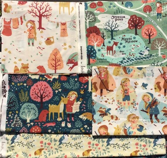 Acorn Trail Birch fabrics Teagan White organic cotton 5 FQ set PLEASE Read