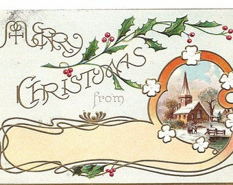 """Vintage 1912 """"With Best Christmas Wishes"""" Embossed Postcard"""