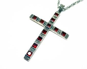 Large Sterling Cross Pendant Necklace - Marcasite & Dark Gold Tone Gemstone - Sterling Silver Chain Signed Spidel Sterling - Vintage 1970's
