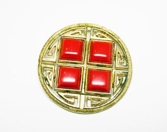 Asian Inspired Lisner Brooch - Red Square Lucite - Gold Tone Round Pin - Designer Signed Lisner Vintage 1960's Jewelry