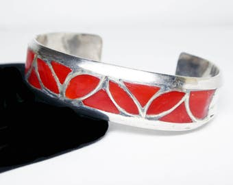 Sterling Silver Cuff Bracelet - Inlaid Red Carnelian - Southwestern Silversmithing - Artisan Signed with 4 Mountain Marks - Vintage 1960s