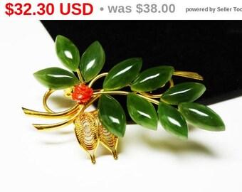 Spring Sale Vintage Leaf Brooch - Green Jade Leaves & Carved Coral Flower - Mid Century Vintage Pin - 1960's - 1970's