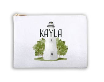 Lighthouse Personalized Lined Cosmetic Bag Monogrammed Makeup Bag Personalized Bridesmaid Gift Bag Personalized Coin Purse Lighthouse Bag