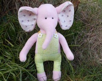 stuffed elephant, pink elephant, fleece elephant, elephant doll, plush elephant, art doll, animal doll