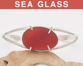 Red-Brown English Sea Glass Cuff Bracelet