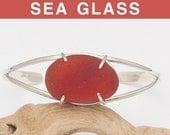Red-Brown English Sea Glass Cuff Bracelet