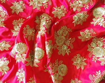 pink orange iridescent embroidered faux silk - floral embroidery - fabric by the yard - pink orange fabric - HALF YARD - emb017