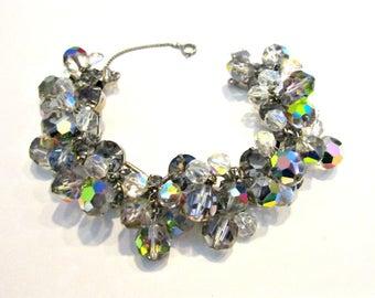 Vintage Juliana FANTASIA Bracelet Rhinestone D&E Delizza Elster Rhinestone Crystal Bead 5 Link Bracelet Aurora Borealis Book Piece