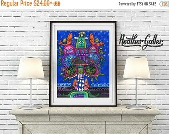 50% Off Today- Mexican Folk Art - Frida Kahlo Art Fish Mermaids Mexican Tree Of Life Art Art Poster