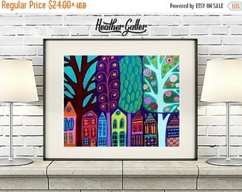 50% Off Today- Landscape Art - Folk Art Trees Houses Art Poster Print of painting by Heather Galler