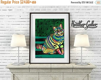 50% Off Today- American Bobtail Cat art Print by Heather Galler
