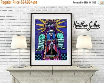 50% Off Today- Mexican Folk Art Santa Muerte Day of the Dead art  Art Print Poster by Heather Galler (Hg696)