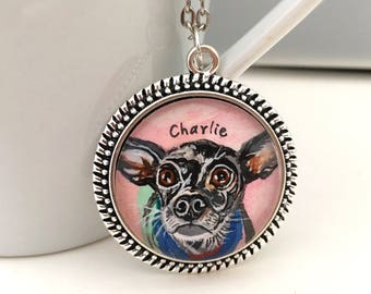 Chihuahua Necklace - Custom Pet Necklace - Dog Memorial Necklace - Pet Loss Gifts - Chihuahua Art -Dog Portrait Custom - Chihuahua Gift