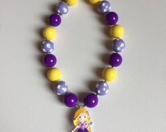 Tangled Birthday Necklace- Tangled Party - Rapunzel Necklace - Little Girl Necklace - Chunky Rapunzel Necklace