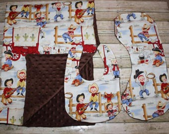 Cowboy western  Blanket, Bib and Burp Cloth Set- Baby Boy Blanket, Bib and Burp Cloth Set-Nursery Blanket Set- Baby shower Gift- Baby Quilt