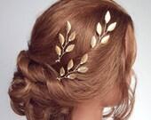 Gold Leaf Hair Comb, Gold Hair Pin Vine, Leaf Bridal Hair Vine, Bridal Hair Piece, Wedding Hairpiece, Gold Leaf Head Piece, Gold Hair Comb