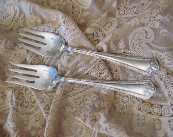 Set of 2 Vintage Silver Plate Large Serving Forks - Fair Oak 1913 Pattern