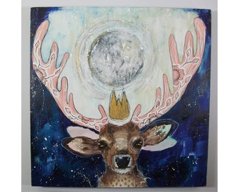 folk art Original deer and moon painting whimsical boho mixed media art on wood panel 10x10 inches - A king and a magical moon
