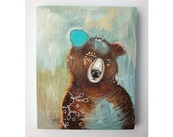Original Bear painting whimsical boho mixed media abstract art painting on wood panel 8x10 inches - A strong affection for solitude