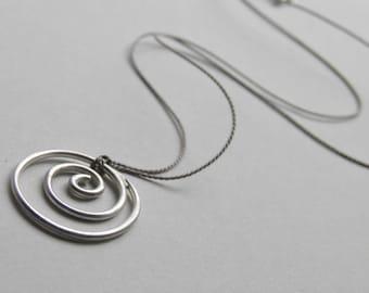 Sterling Silver Necklace on Silk Minimalist Minimal Solid Silver Spiral Handcrafted Silk Thread Jewelery Silver Swirl Floating Wedding