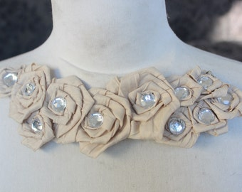 Cute  embroidered  and beaded   flower applique cream color