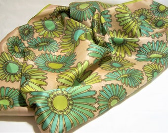 Italian Acetate Flower Power 27in Square Scarf, Blue and Chartreuse Floral Design, Mid Century Vintage Accessory, Made in Italy  517dz