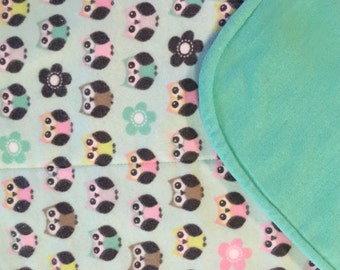 Mint green and owls large burp cloth ** Gift for new Mom ** Baby Shower Gift