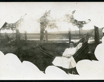 Woman Sitting on HAMMOCK In OAK LEAF Shaped Photo Postcard circa 1910