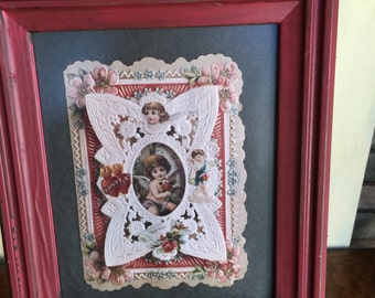 Vintage Barn Red Shabby Chic Framed Picture