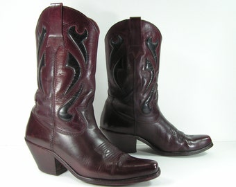 vintage cowboy boots men's 10 D burgundy western genuine leather made in brazil