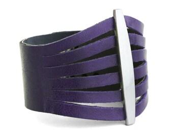 Purple Leather Bracelet, Violet Leather Cuff Bracelet - the Flare cuff