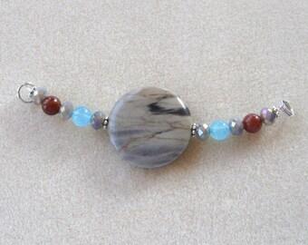 Silver Leaf Jasper, Jade, Aventurine, DIY Jewelry Kit,  Focal Beads, Gemstone Beads, Jewelry Making Beads, Beaded Centerpiece, Crafts
