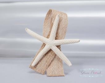 White Starfish Boutonniere -Beach Wedding. starfish pin tan jute & burlap ribbon, pin, corsage, beach destination wedding, mens buttonhole
