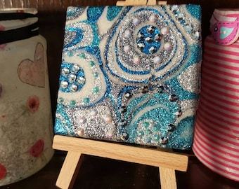 Blue, Teal, Silver and White Glitter Canvas Art Original Abstract Artwork no. 39, mini canvas with sparkly gems