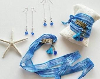 Dreams on Seneca Lake Beach Glass Wrap Bracelet