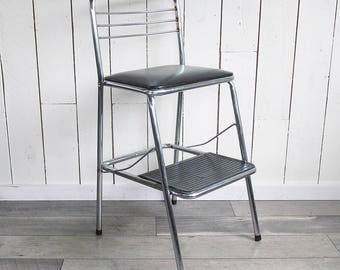 "Mid Century Black & Chrome Cosco Step Chair, Folding Step Stool ""Ready for Your Retro Decor"""