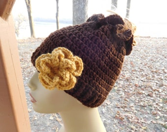 Crocheted Messy Bun/ Ponytail Beanie in Chocolate Brown with Detachable  Flower in Gold