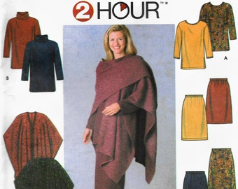 Simplicity 9932 Easy Pullover Tunic, Pull on Skirt and Cape Wrap Size Large, Extra Large UNCUT Sewing Pattern
