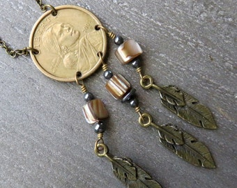 Gold Coin Pendant - Coin Necklace - Gold Coin Necklace  - Lucky Coin Necklace -Bohemian Necklace - Valentines Day Gift Idea - Valentine Gift