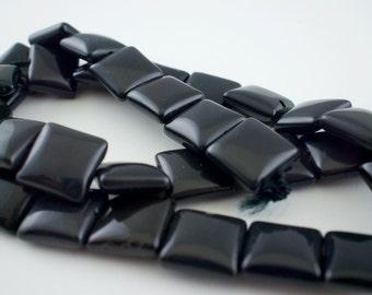 12mm Blackstone Gemstone Puff Square Beads - 15 inch strand - 34 pieces