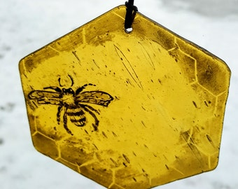 Honey Bee Painted stained glass