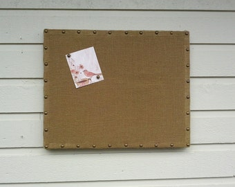 Upholstered Pin Board in your choice of burlap color, solid wood frame under the fabric with upholstery tack details, office, kitchen decor
