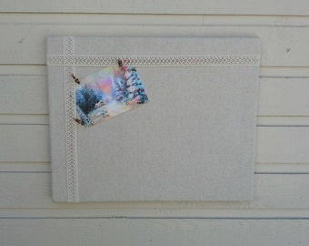 Cotton Weave and Lace Bulletin Board, Photo Memory Board for your Office, cabin, kitchen or Wedding decor burlap alternative for allergies