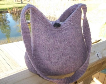 11-1032Handknitted felted wool purse,tote,handbag fs