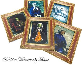 "PDF Dollhouse Pictures, 1:12 Portraits Digital Download, Dollhouse Witches, Dollhouse Victorian Horror, Scale 1"" Miniatures"
